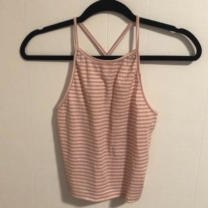 F21 RIBBED STRIPPED HALTER TOP